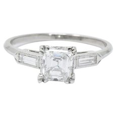 Classy 1.07 CTW Asscher Cut Diamond & Platinum Engagement Alternative Ring GIA