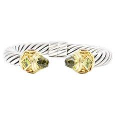 David Yurman peridot, citrine, quartz Sterling Silver & 18K Yellow Gold Cable Bracelet