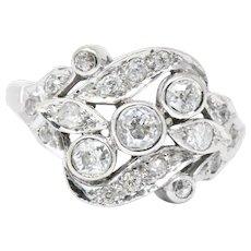 Retro .40 CTW European Diamond & 14K White Gold Ring