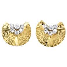 McTeigue & Co. .40 Carat Retro 18K Yellow Gold & Platinum Diamond Earrings