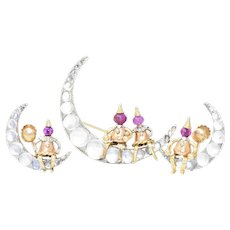 Adorable Retro 14K Tri-Colored Gold Ruby & Moonstone Earrings & Brooch