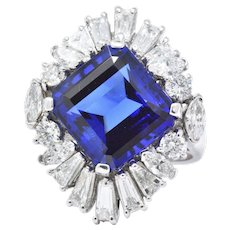 Exceptional 12 Carat Tanzanite Diamond & 18K White Gold Ring