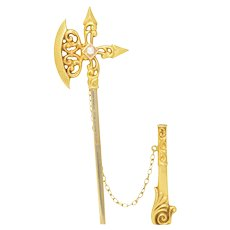 Seed Pearl & 14K Yellow Gold Battle Axe Jabot Pin