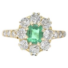 Victorian .50 Carat Emerald Diamond & 14K Yellow Gold Ring