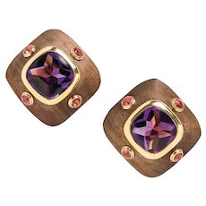 Van Cleef & Arpels 18K Gold Wood Amethyst and Pink Tourmaline Earrings