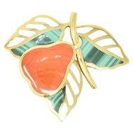 Tiffany & Co. Hardstone Pear & 18K Yellow Gold Brooch Circa 1980's