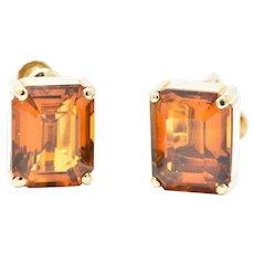 Tiffany & Co. 12.25 Carat Citrine & 18K Yellow Gold Retro Screw Back Earrings