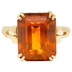 Tiffany & Co. 7.25 Carat Citrine & 18K Yellow Gold Retro Cocktail Ring