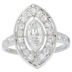 Sensational Art Deco .95 CTW Diamond & Platinum Alternative Engagement Ring