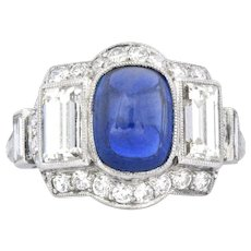 Stunning Art Deco No Heat Burma 4.34 CTW Sapphire Diamond & Platinum Ring AGL