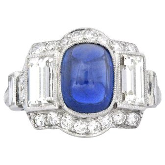 Stunning No Heat Burma 2.60CTS Sapphire & Diamond Art Deco Ring AGL