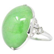 Spectacular Art Deco Jade, Diamond & Platinum Ring, GIA