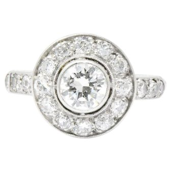 1.02CTW Diamond & 14K White Gold Art Deco Ring
