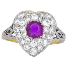 Edwardian Burma Ruby, Diamond, Platinum & 14K Yellow Gold Heart Ring