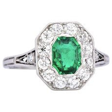 Shreve, Crump & Low .70 Carat Colombian Emerald, Diamond & Platinum Edwardian Ring Alternative Engagement
