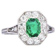 Shreve Crump & Low Edwardian 1.05 CTW Colombian Emerald Diamond Platinum Alternative Ring
