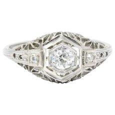 .27CTW Diamond & 14K White Gold Art Deco Engagement Ring