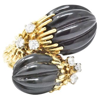 Kuchinsky 0.60CTW Diamond, Onyx & 18K Yellow Gold Ring, Circa 1970's