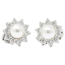 Cartier 1.40CTW Diamond, Cultured Pearl & Platinum Vintage Ear-Clips Earrings