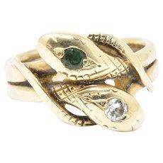 Victorian .10CTS Diamond Emerald & 14K Yellow Gold Snake Ring