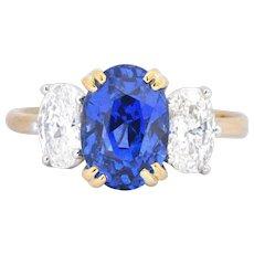 Vintage 4.22 No Heat Natural Sapphire Diamond Platinum 18 Karat Yellow Gold Ring AGL