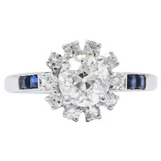 Eclectic 1.84 Carat Diamond Sapphire & 18K White Gold Engagement Ring 1940, GIA
