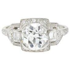 Captivating 1.80 CTW Diamond & Platinum Art Deco Ring, GIA