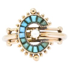 Victorian Turquoise Seed Pearl & 14K Rose Gold Ring