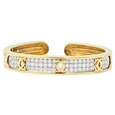 """Cartier 1.95CTW Diamond Platinum & 18K Gold Bangle """"C De Cartier"""" Bracelet"""