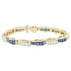 Tiffany & Co. 4.90 CTW Diamond Sapphire Platinum & 18K Gold Bracelet