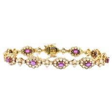 Regal 6.75 CTW Ruby Diamond & 18K Gold Vintage Bracelet