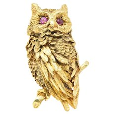 Vintage Ruby & 18K Gold Owl Brooch