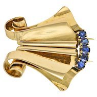 Chaumet Sapphire & 18K Rose Gold Retro Clip Brooch