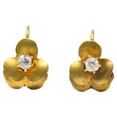 Art Nouveau Adorable .20CTW Diamond & 14K Gold pansy flowers Earrings, Circa 1900