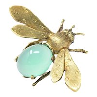 Lovable Chrysoprase & 18K Gold Insect Brooch