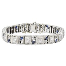 Art Deco .80CTW Diamond Synthetic Sapphire & 14K White Gold Bracelet