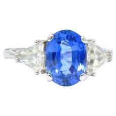 4.99 CTW No Heat Burma Sapphire Diamond & 14K White Gold Ring, GIA