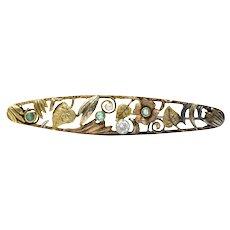 Art Nouveau Diamond, Emerald & Pearl 14K Tri-Color Gold Bar Brooch