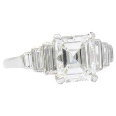 Vintage  2.71 CTW Emerald Cut Diamond  Platinum Engagement Art Deco Ring GIA