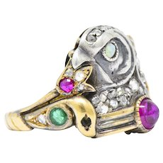 Egyptian Revival Diamond, Ruby Opal Emerald Silver & Gold Unisex Ring, Late Victorian