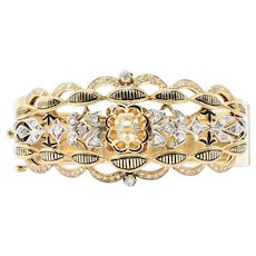 Victorian French 2.85CTW Diamond, Enamel, Platinum & 14K Gold Bangle Bracelet