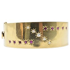 Retro Tiffany & Co. .75 CTW Diamond, Ruby & 14K Gold Bangle Bracelet