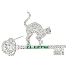 4.00CTW Diamond, Emerald, Demantoid & Platinum Cat and Key Brooch