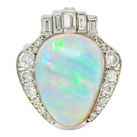 Ethereal Opal Diamond & 14K White Gold Large Cocktail Ring