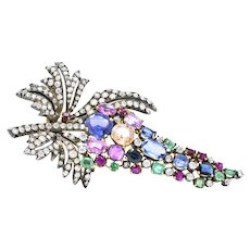 Victorian 2.25 Carat Diamond, Emerald Sapphire Ruby Topaz Silver & Gold Brooch
