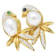 Enchanting 1.25CTW Diamond, Pearl, Emerald, Sapphire & 18K Bird Brooch