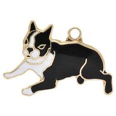 Sweet 1920's Enamel & 14K Gold  Boston Terrier Dog Charm