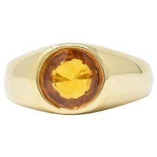 Bright 2.20CTS Orange Sapphire & 18K Gold Men's Ring