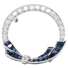 Oscar Heyman Deco 1.15CTW Diamond, Sapphire & Platinum Circle Pin