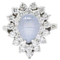Eye-Catching 1.20CTS Star Sapphire, Diamond & 14K White Gold Ring